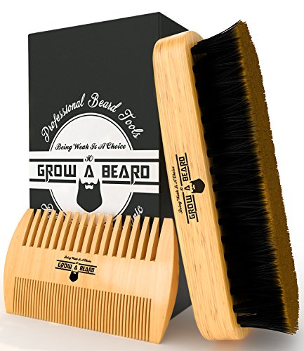 Black Mustache And Beard Kit (Beard Brush and Comb Set for Men - Friendly Gift Box And Cotton Bag - Best Bamboo Beard Kit for Home and Travel - Great for Dry or Wet Beards - Adds Shine and Softness)