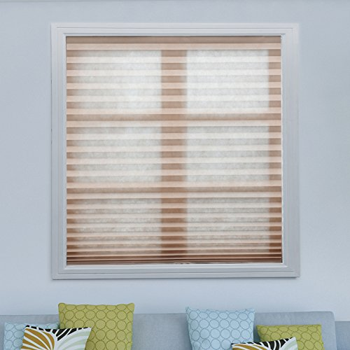 3 pack brown light filtering pleated fabric shades blinds for Smart window shades