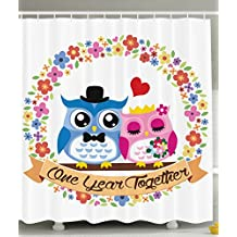 1st Birthday Decorations First Birthday Year Anniversary Gifts for Couple Cute Owl Couple Wedding Celebration Party Bathroom Decorations Shower Curtain Blue Fuchsia Red Pink Khaki Green Yellow