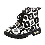 GBSELL Little Girl Boys Toddler Shoes Skull Grid Soft Martin Sneaker Boot (Black, 12-18M)