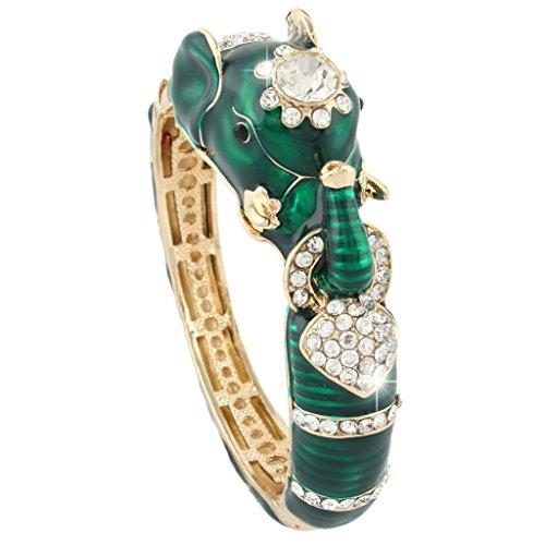 EVER FAITH Womens Austrian Crystal Enamel Adorable Elephant Bangle Bracelet