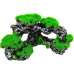 gangnumskythaii Ornaments Rock Aquarium Décor Decorations Fish Toy Tools Accessories Green Gray Resin Coral Reef Rock Imitation Moss Ornament gangnumskythaii