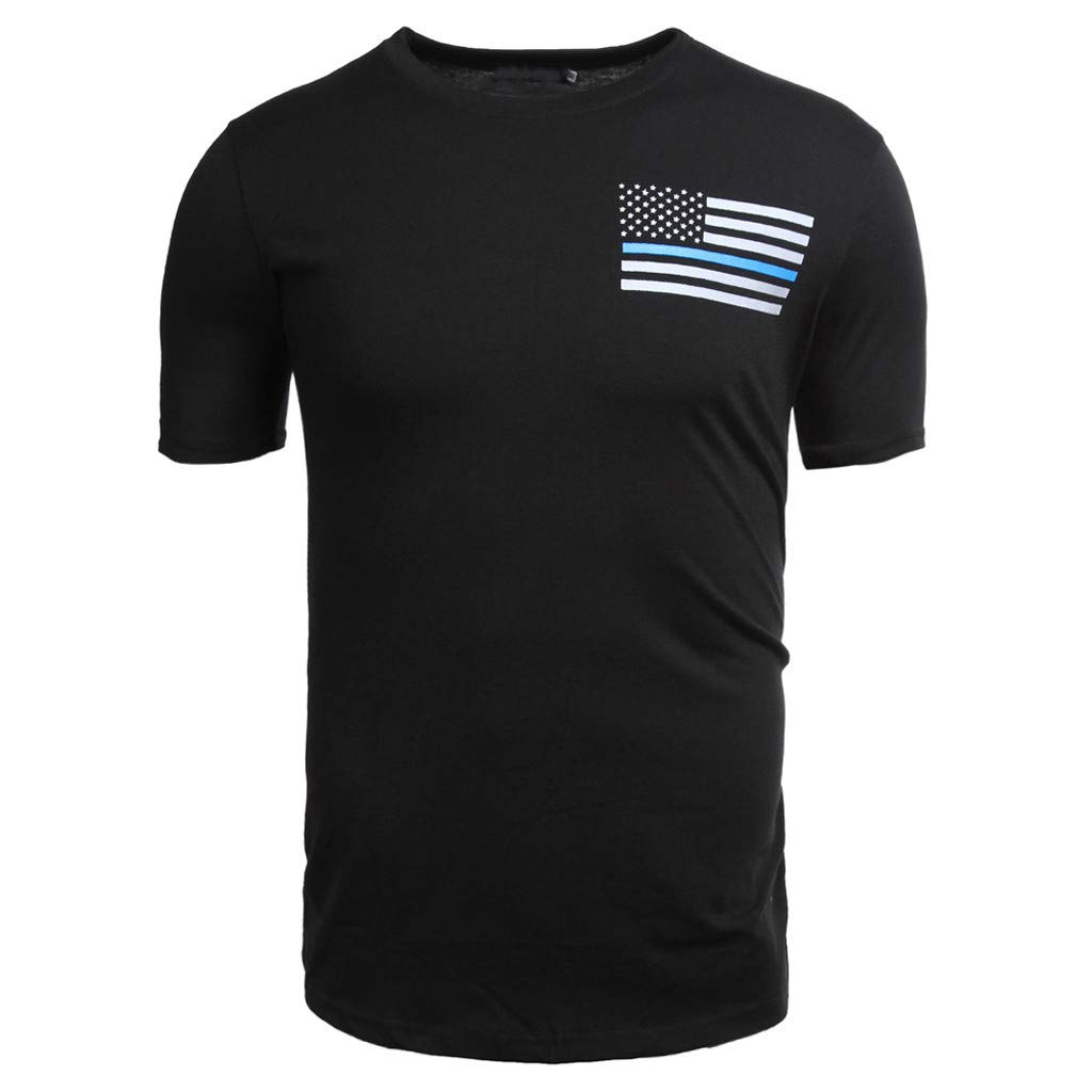 NRUTUP Mens Printing Star Stripe Shirt Short Sleeve T-Shirt Blouse Tops (Black,XXL)