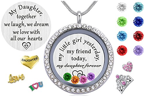 Beffy Gifts for Daughter from Mom Dad, Living Memory Floating Locket Pendant Necklace with Charms & Birthstones for Mother Mama Mammy Daddy's Little Girl