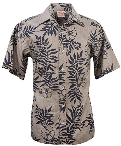 Barefoot Go Mini (Go Barefoot - Mini Tahitian - Men's Hawaiian Reversed Print Aloha Shirt - in Khaki-Navy - XX-Large)