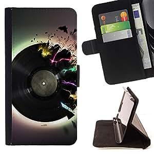 - Vinyl Music Neon Colors Art Love Retro Dance - - Prima caja de la PU billetera de cuero con ranuras para tarjetas, efectivo desmontable correa para l Funny HouseFOR LG G3