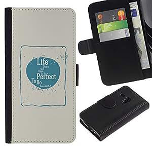"Samsung Galaxy S3 MINI / i8190 (Not For Galaxy S3) , la tarjeta de Crédito Slots PU Funda de cuero Monedero caso cubierta de piel ("" Perfect Life Love Happiness Blue Beige Poster"")"