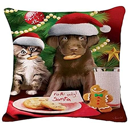 Nostalgiaz Christmas Dog and Cat Pillow Cover, 18 x 18 inches