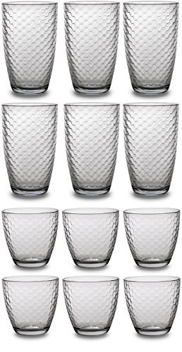 Circleware Hive Huge Set of 12 Drinking Glasses, 6-16oz and 6-13oz Double Old Fashioned Whiskey ()
