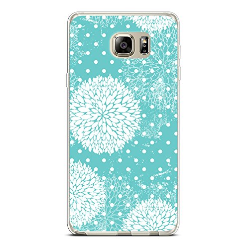 Case for Samsung Note 5, CasesByLorraine Turquoise Floral Polka Dots Case Flexible TPU Soft Gel Protective Cover for Samsung Galaxy Note 5 (P13) (Polka Note)