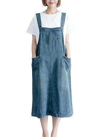 aac4e7fcdae82 LaoZanA Robe Salopette Jean Femme Élégant Vintage Baggy Grande Taille Robes  en Jeans Denim Bleu XL