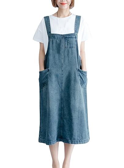 2ba7547aeef LaoZanA Robe Salopette Jean Femme Élégant Vintage Baggy Grande Taille Robes  en Jeans  Amazon.fr  Vêtements et accessoires