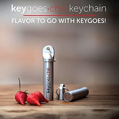 keygoes: Chili clave cadena – pequeño llavero con Carolina Reaper polvo. Tema de regalo y Gadget para hombres mujeres [rojo]