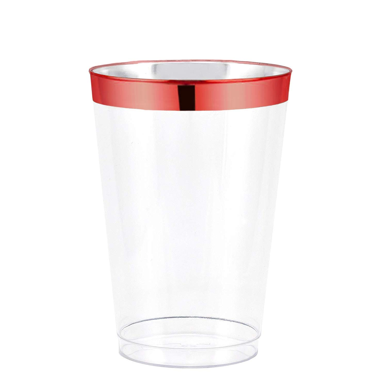 12oz Red Plastic Cups 100 pack- Elegant Fine Dining Heavy Duty Clear Plastic Disposable Cups/Tumblers with Red Rim- Weddings, Parties, Showers, Holidays & Special Occasions- Dulce Dining