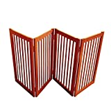 WELLAND Wood Freestanding Pet Gate Dog Gate (72-Inch, Light Cherry)