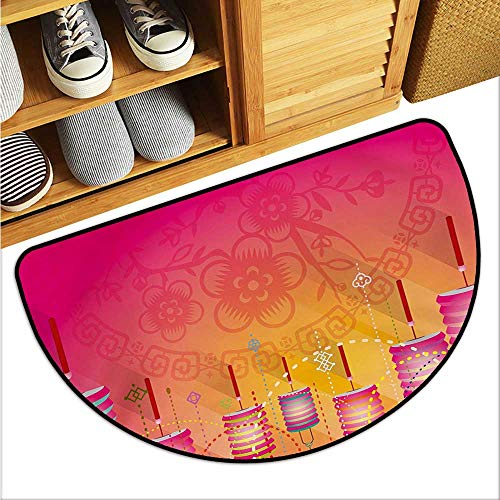 (warmfamily Lantern Entrance Door mat Abstract Eastern New Year Festivities Handmade Asian Cultures China Floral Background Antifouling W23 x L15 Fuchsia)