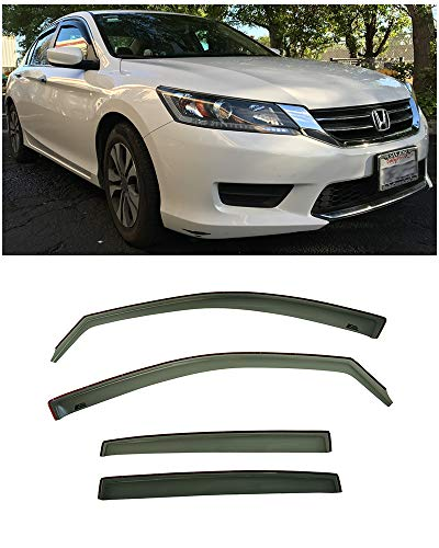 Extreme Online Store for 2013-Present Honda Accord 4Dr Sedan | EOS Visors in-Channel Style JDM Smoke Tinted Side Vents Window Deflectors Rain Guard (Rain Guard Visors)