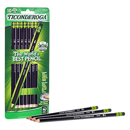 Wood Black Pencils (TICONDEROGA Pencils, Wood-Cased Graphite #2 HB Soft, Pre-Sharpened, Black, 10-Pack (13915))
