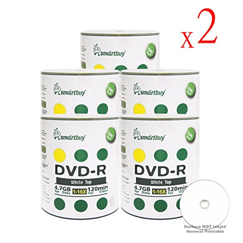Smart Buy 1000 Pack DVD-R 4.7gb 16x White Top Blank Data Video Movie Record Disc, 1000 Disc 1000pk