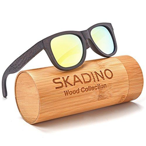SKADINO Wayfarer Beech Wood Sunglasses with Polarized Lenses-Handmade Floating Wooden Shades for Men & - Wing Sunglasses