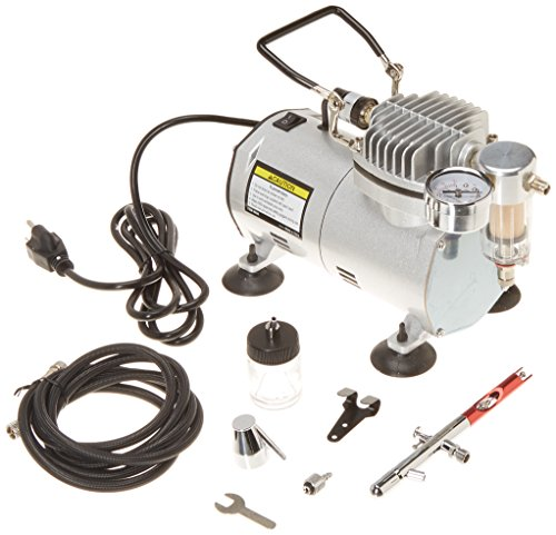 (1/5 HP 58 PSI Oilless Airbrush Compressor Kit with Quite Chrome Plated Airbrush, Hose and Storage)