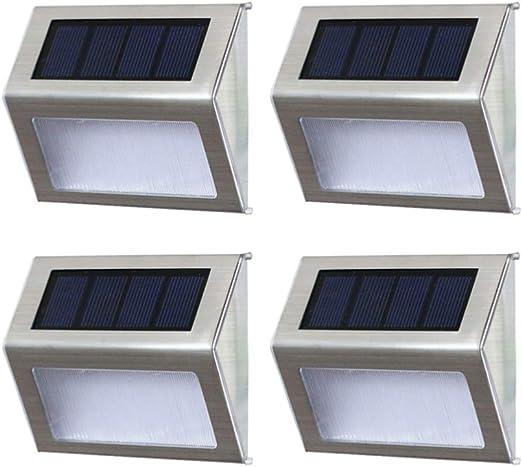 OSALADI - 4 luces solares para escalera, de acero inoxidable, para exteriores, jardín, patio, escalones, lámpara de pared (luces cálidas): Amazon.es: Iluminación