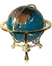 Unique Art 21-Inch Tall Turquoise Blue Ocean Table Top Gemstone World Globe with Gold Tripod