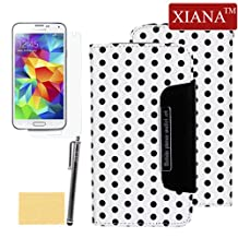 XIANA Removable Two-in-one Design Wallet Leather Case Cover Protector For Galaxy S5 i9600(White),A Stylus,Screen Protector and Cleaning Cloth Included