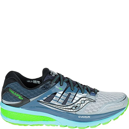 Saucony TRIUMPH ISO 2-W Women's Running Shoe, Grey/Blue/Slime, 8.5 US