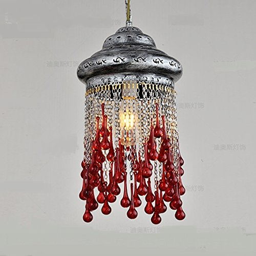 Bohemia personality pendant lights Mediterranean Southeast Asia Thai color diffuse coffee pendant lamps ZA626 ZL52 ( Color : Red B ) by WINZSC