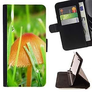 BullDog Case - FOR/Samsung Galaxy S4 Mini i9190 / - / Mushrooms and grass /- Monedero de cuero de la PU Llevar cubierta de la caja con el ID Credit Card Slots Flip funda de cuer