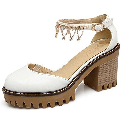 COOLCEPT Mujer Dulce Correa de Tobillo Sandalias Tacon Ancho Plataforma Cerrado Zapatos Tamano Blanco