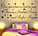 ONCE UPON A TIME BEAUTIFUL PRINCESS PRINCE WALL ART STICKER QUOTE ~ IDEAL FOR GIRLS OR BOYS BEDROOM BABIES NEW BORN NURSERY 'Just Add NAME'