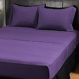 Producto nuevo 500hilos 3pc Set de funda de edredón super-King púrpura sólido 100% algodón egipcio