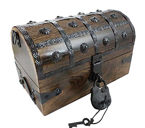 Well Pack Box Pirate Treasure Chest with Iron Lock Skeleton Key 11 x 7 x 7 Decorative Box