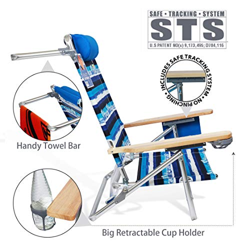 690GRAND Best Folding Beach Chair 5 Position Lay Flat Reclining with Extra Wide Seating Area Cup Holder and Storage Pouch Lightweight Aluminum Frame for Camping Hiking by 690GRAND (Image #3)