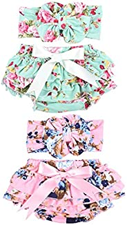 Baby Girls Diaper Covers Bloomers and Headbands Sets Big Bow Ruffle Shorts Briefs Underwear for Newborn Infant