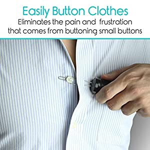 Vive Button Hook - Zipper Pull Helper - Dressing Aid Assist Device Tool for Arthritis, Independent Living - Wide Handle Grip - Shirt, Dress Clothes, Pant, Coat Snap Buttoner - Dexterity Gripper Puller from VIVE Health
