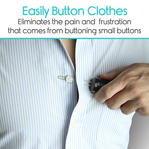 Vive Button Hook - Zipper Pull Helper - Dressing Aid Assist Device Tool for Arthritis, Independent Living - Wide Handle Grip - Shirt, Dress Clothes, Pant, Coat Snap Buttoner - Dexterity Gripper Puller by VIVE (Image #1)