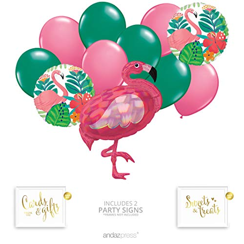 Andaz Press Tropical Jungle Flamingo Party Balloon Bouquet Set, Tropical Aloha Hawaiian Luau Theme Supplies, Inflatable Foil Flamingo, Latex Balloons, Bulk Balloon Kits for Tropical Decorations