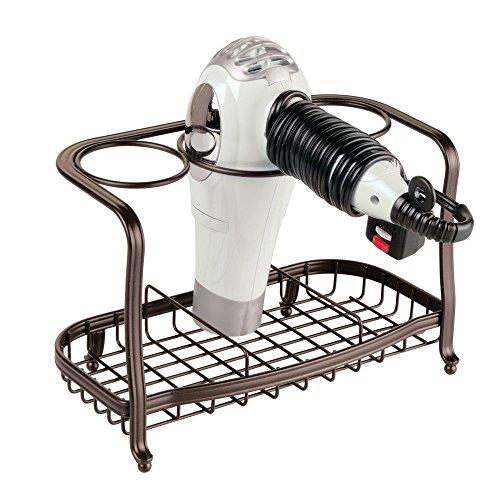 mDesign Bathroom Countertop Storage Organizer for Hair Dryer, Flat Irons, Curling Wands - Bronze