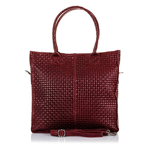 FIRENZE ARTEGIANI.Bolso shopping bag de mujer piel auténtica.Bolso cuero genuino piel grabado geométrico. MADE IN ITALY. VERA PELLE ITALIANA. 37x36x9 cm. Color: GRANATE Granate