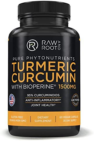 Turmeric Curcumin with BIOPERINE Black Pepper Extract – Anti Inflammatory, Joint Support, 95 Curcuminoids – Dietary Supplement – 60 Vegetarian Capsules 60