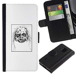 LECELL--Cuero de la tarjeta la carpeta del tirón Smartphone Slots Protección Holder For Samsung Galaxy S5 V SM-G900 -- Zombie Head - White Walker --