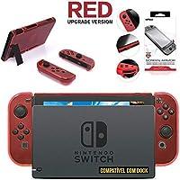 Kit Case Nintendo Switch de Acrílico Vermelho compatível com Dock + Película