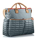 Diaper Bag- by Maman - with Matching Changing Pad - Stylish Designer Tote for Moms - for Baby Boys and Girls - Patented (Grey)