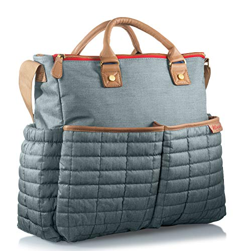 Diaper Bag- by Maman - with Matching Changing Pad - Stylish Designer Tote for Moms - for Baby Boys and Girls - Patented (Grey) ()