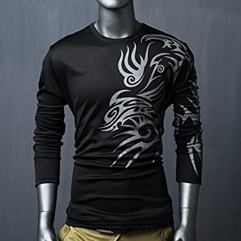9f9e12494a3 black 3XL Mens Designer Long Sleeve T-Shirts Top Tee Crew Neck Muscle Slim  Fit  Amazon.co.uk  Clothing