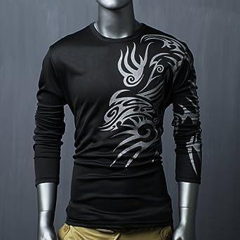 5b4f3386096 black L Mens Designer Long Sleeve T-Shirts Top Tee Crew Neck Muscle Slim Fit:  Amazon.co.uk: Clothing