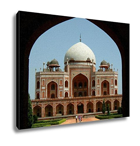 Ashley Canvas Front View Of The Humayun Tomb Framed By The Fort Wall Entrance Wall Art Decor Stretched Gallery Wrap Giclee Print Ready to Hang Kitchen living room home office, 24x30 by Ashley Canvas